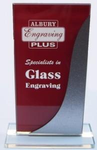 Sandblasted glass trophy